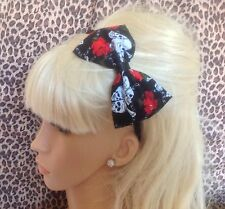 "NEW BLACK SKULL RED ROSE PRINT COTTON FABRIC 5"" SIDE BOW ALICE HAIR HEAD BAND"