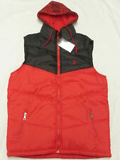 $52 NWT NEW Mens Rocawear Hooded Puffer Vest Jacket Red Black Urban Size M N284