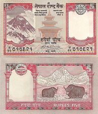 Nepal P60, 5 Rupee, Mount Everest, Taleju temple / yaks in Himalaya 2009 UNC
