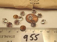 12 Vtg 7.5mm Crystal Clear Swarovski Rhinestone Craft Repair Brooch Jewelry Lot