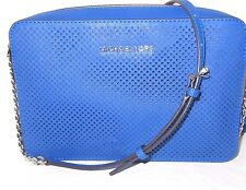Michael Kors Jet Set Travel Electric Blue Perforated Leather Large Crossbody