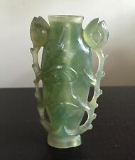 Fine Old Chinese Green Hard Stone Serpentine Agate Flower Snuff Bottle Art WOW
