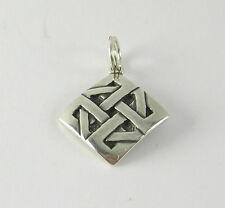 Celtic Knot Square Charm Pendant .925 Sterling Silver USA Made Jewelry Celts