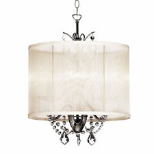 NEW VANESSA MINI CRYSTAL CHANDELIER 14'' DRUM SILK SHADE PENDANT LAMP