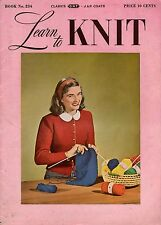 Coats Clark 234 Learn Knit Beginner Patterns Easy Scarf Mittens Socks Hood 1948