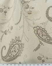 Drapery Upholstery Fabric Paisley Matelasse' in Putty, Tan, Taupe on Ivory
