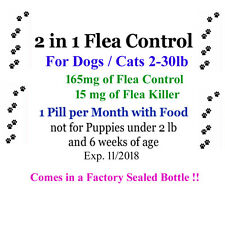 2in1 Flea Killer & Control in one Pill 6 mo.for Dogs/Cats 2-30 lb Factory sealed