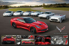 Corvette Stingray RUNS IN THE FAMILY (7 Generations) American Sportscar POSTER