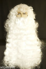 Delux Santa Long White Wavy Curly Costume Men's Wig With Long beard Mustache