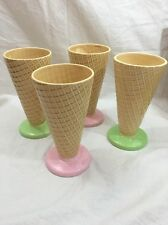 "Set of 4 Waffle Cone Shaped Ice Cream Dessert Dishes, 6"" Pastel Bases-Japan"