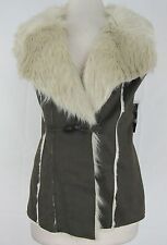 INC Int. Concepts New Faux Suede Faux-Fur Trim Vest Sz M MSRP $199.50 #WN 16 (M)