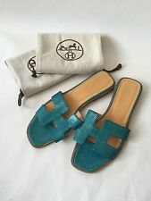 Hermes Oran H Exotic Blue Lizard Sandals Slippers Flats Size 38