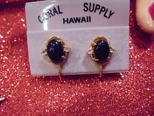 GENUINE BLACK CORAL/ CRYSTAL/18KT GF SCREW BACK EARRINGS  1950'S /VINTAGE