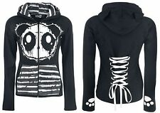 POIZEN KP RAW HOOD BLACK WHITE STRIPE GOTH EMO PUNK LADIES WINTER 8/10