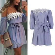 CHEAP Womens One Off shoulder Strapless Striped Lace Summer Evening Party Dress