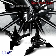 """CA Black Spun Blade Spinning Axle Caps For Harley  1 1/8"""" Touring Street Glide"""