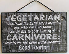 Sign Carnivore Meat Eater BBQ Hunting Eat Cooking Steak Chicken Beef Plaque USA