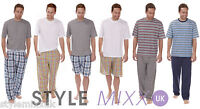 Mens Lounge Pants Bottoms Pyjamas Pjs T Shirt Nightwear Shorts 2 Piece Sets S-XL