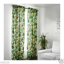 "Ikea Syssan Curtains 1 Pair White Green 2 Panels 57"" X 98"""