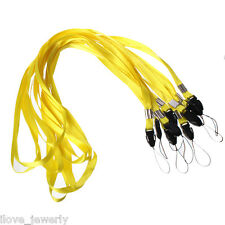 10PCS Lanyards Neck Strap For ID Pass Card Key /Mobile Phone USB Holder Yellow