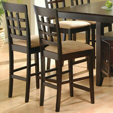 Mix & Match Set of 2 Dining Counter Ht. Chairs Stools Fabric Seat Cappuccino