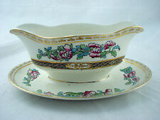vtg Alfred Meakin INDIA TREE gravy boat w attached underplate Medina w gold trim