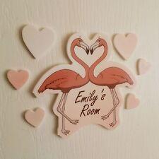 Pink Flamingo Heart Mirror Set Personalised Door Name Plaque Boy Girls Bed Room