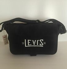 Levi's Unisex Black Canvas Leather School Bookbag Messenger Bag SALE