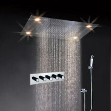 "31"" Large Rain Shower Set Faucet Double Waterfall Shower Super LED Shower Heads"