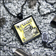Rockabilly Rat Fink Hot Rod Race Rat Rod Kulture Black Glass Pendant Necklace