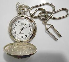 MARK NAIMER  OMAX Quartz Pocket Watch with Box & Chain Clip ~New