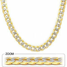 "9.60mm 26"" 77.00gm 14k Gold Solid Two Tone Cuban White Link Men's Chain Necklace"