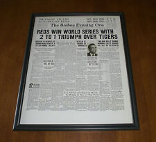 1940 REDS WIN WORLD SERIES OVER TIGERS FRAMED 11x14 NEWSPAPER FRONT PAGE PRINT