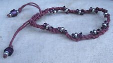 Handmade Purple cord Bracelet  with glass and silver beads - adjustable,lavender