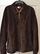 Vintage Tommy Hilfiger Men's L Suede Leather Jacket Dark Brown