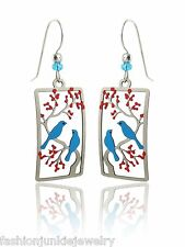 Blue Bird Earrings - 925 Sterling Silver Ear Wires - Two Birds Cherry Tree NEW