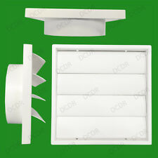 "150mm 6"" Ducting White Gravity Flap Wall Kitchen Extractor Fan Ventilation Grill"
