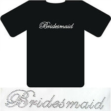 'Bridesmaid' Crystal Rhinestone Wedding iron on hot fix sticker-clear colour