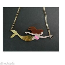 Acrylic Mermaid Pendant Necklace Kitsch On Point Fashion Sailor Nautical