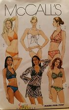 M5400 New McCall's Sewing Pattern For Misses' 2 Piece Swim Suit & Cover Up 4-12