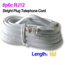 White 1M 6P6C PRO ADSL Telephone Cord Cable RJ11 / RJ12 Made in Australia