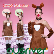 Women Christmas Reindeer Costume Dress Antler Headwear Oversleeves Breage DER2