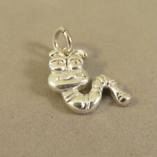 .925 Sterling Silver CARTOON CATERPILLAR CHARM Pendant 925 Inchworm NEW GA51