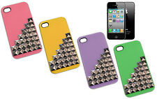 COVER CASE CUSTODIA FLIP X IPHONE 4 BORCHIE PLASTICA ROSA VERDE VIOLA GIALLO Y