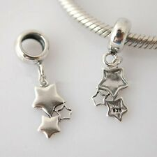 STAR-Little Stars- Solid 925 sterling silver European dangle charm bead/ Pendant