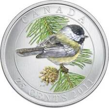 2011 25-CENT COLOURED BLACK-CAPPED CHICKADEE, BIRDS OF CANADA SERIES