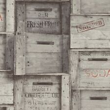 Distinctive 5 Grey Wood Crates Wallpaper FD40944 Fruit and Wine Wooden Boxes