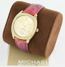 New 100% Auth Michael Kors MK2387 Bryn Multifunction Python Leather Watch