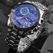 ASJ Black/White Water Resistance Multi-Functions Day Date Sports Men Steel Watch