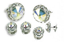 Crystal Cufflinks and Studs with Prism Center